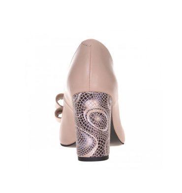 Pantofi crem piele cu toc gros din piele cu imprimeu