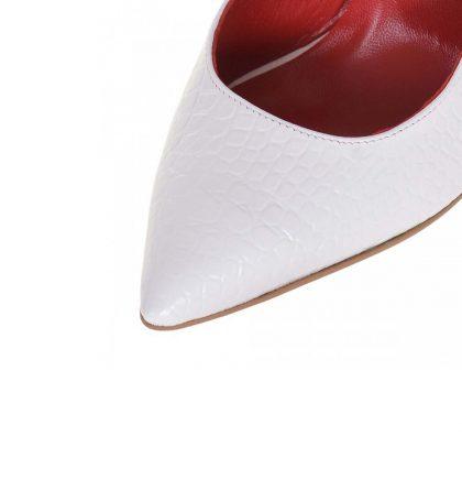 Pantofi decupati stiletto din piele alba cu imprimeu croco