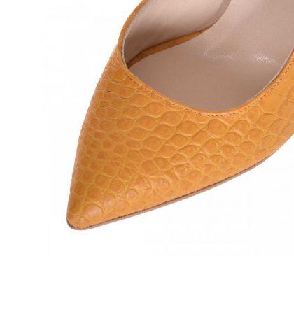 Pantofi decupati stiletto din piele galben mustar cu print croco