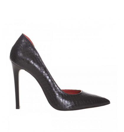 Pantofi decupati stiletto din piele neagra cu print croco