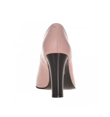 Pantofi office roz pudra cu toc gros