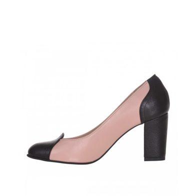 Pantofi office toc jos piele roz pudra si piele neagra