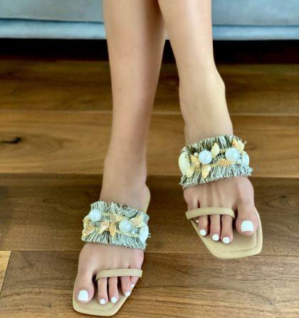 Papuci dama din piele bej cu talpa joasa