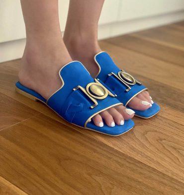 Papuci dama josi piele intoarsa albastru roial