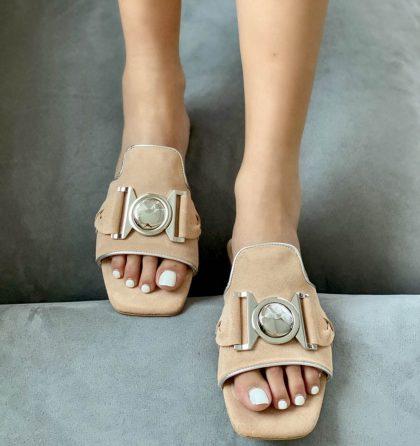 Papuci dama josi piele intoarsa nude