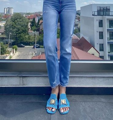 Papuci dama piele intoarsa bleu turcoaz