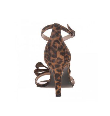 Sandale animal print din piele intoarsa cu toc jos