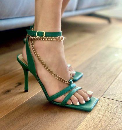 Sandale elegante verzi din piele naturala cu lanturi