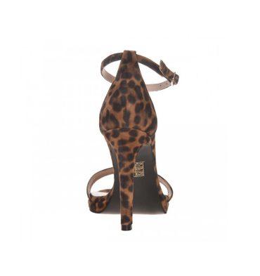 Sandale piele animal print cu toc inalt si platforma