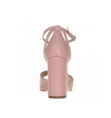 Sandale roz pudra din piele naturala cu toc gros