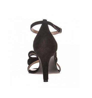 Sandale toc comod din piele intoarsa neagra