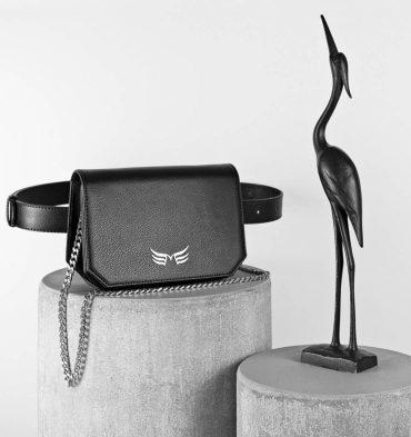 Borseta geanta neagra din piele naturala
