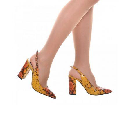 Pantofi dama decupati din piele colorata cu imprimeu croco