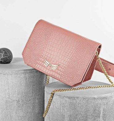 Borseta geanta din piele naturala roz prafuit cu imprimeu croco