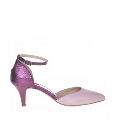 Pantofi stiletto toc jos piele roz si piele mov