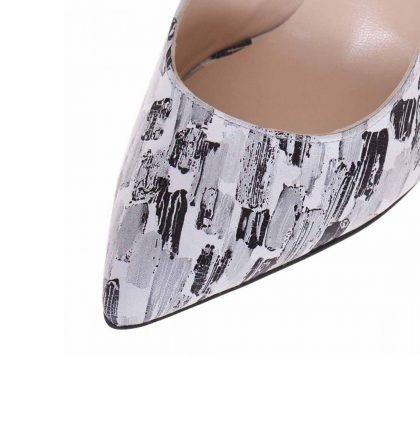 Pantofi decupati stiletto din piele cu imprimeu gri