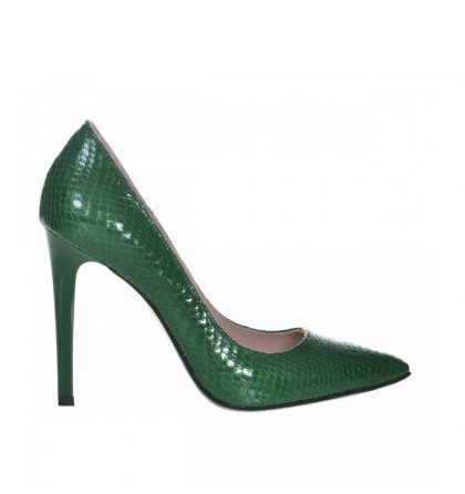 Pantofi stiletto verzi piele imprimeu croco