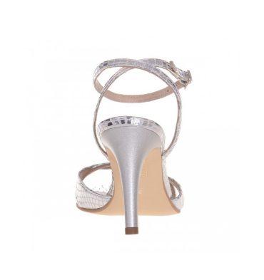 Sandale toc comod piele argintie cu imprimeu