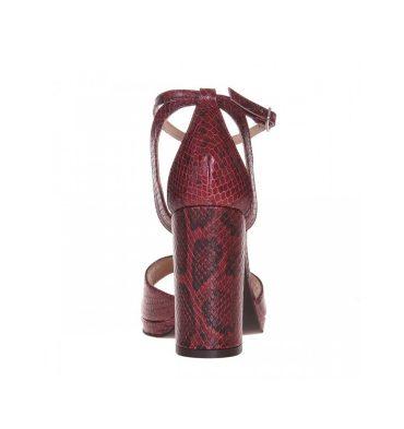 Sandale toc patrat din piele naturala rosu croco