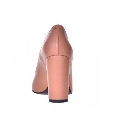 Pantofi dama cu toc gros din piele cappuccino