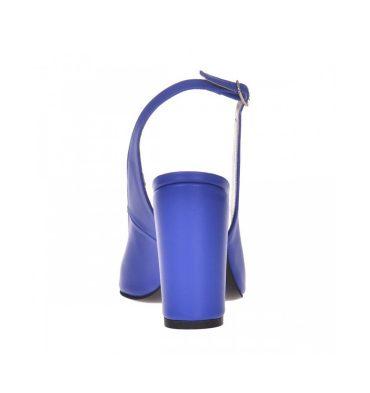 Pantofi dama decupati din piele albastra