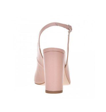 Pantofi decupati cu toc gros din piele roz pudra