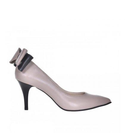 Pantofi stiletto cu toc jos din piele bej inchis