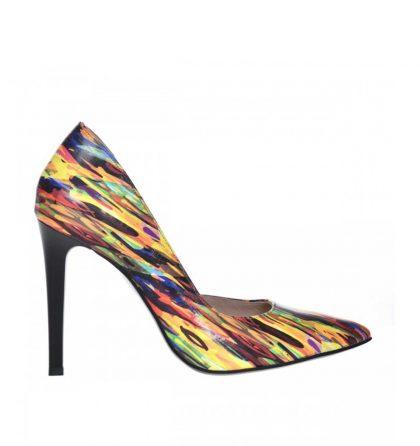 Pantofi stiletto decupati din piele colorata