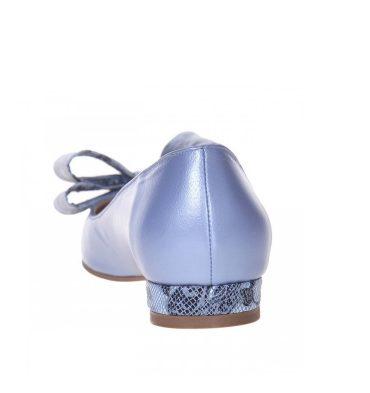 Balerini bleu sidefat din piele naturala accesorizati cu funda