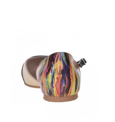 Balerini decupati din piele galben pal si piele multicolora