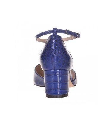 Pantofi dama toc jos piele albastra cu presaj croco