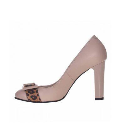 Pantofi office bej din piele naturala cu insertii animal print