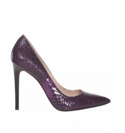 Pantofi stiletto eleganti din piele mov croco