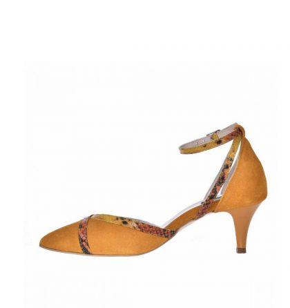 Pantofi stiletto toc jos piele intoarsa galben mustar
