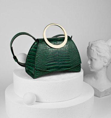 Geanta eleganta verde croco din piele naturala
