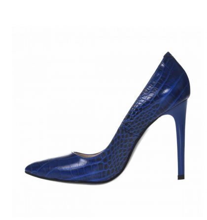 Pantofi albastri stiletto din piele naturala presaj croco