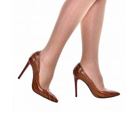 Pantofi maro stiletto din piele naturala presaj croco