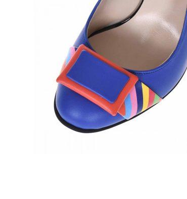 Pantofi office cu toc gros din piele albastra si piele imprimeu colorat