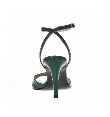 Sandale comode din piele verde croco