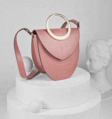 Geanta roz croco dama piele naturala