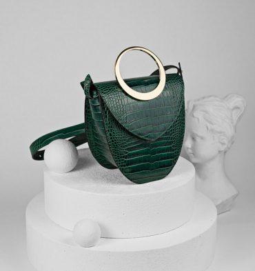 Geanta verde croco dama piele naturala